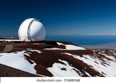 Observatory domes at the peak of Mauna Kea volcano, Maui, Hawaii islands