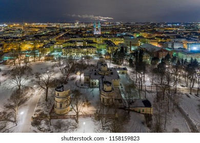 Observatory Hill (Helsinki), otherwise known as Tahtitorninmaki Hill in Helsinki, Finland. Tahtitorninvuori Observatory Hill Park. View above.