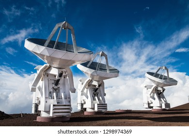 Observatory space science antennas on mountain volcano top in Hawaii