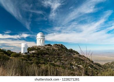 Observatory and telescope on top of Kitt peak outside of Tucson, Arizona.