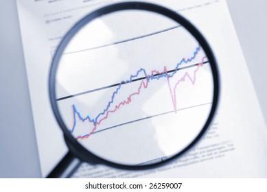 observe curve chart  through  magnifier
