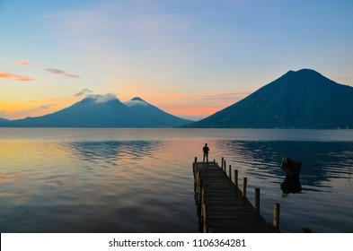 Observing the incredible beautiful sunrise at Lake Atitlan in Guatemala.