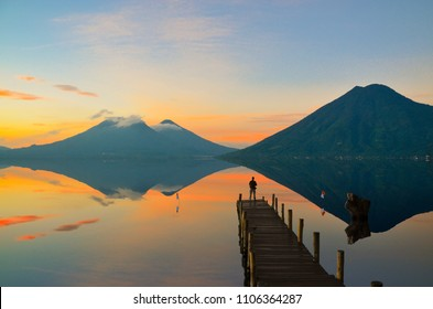 Observing the incredible beautiful sunrise at Lake Atitlan in Guatemala.