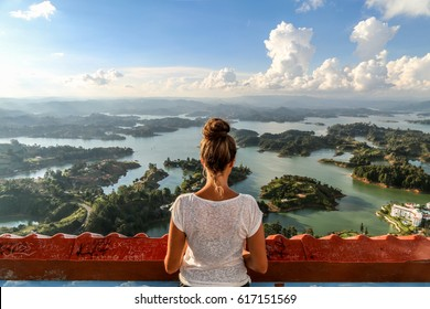 Observing the view over Guatape. Colombia