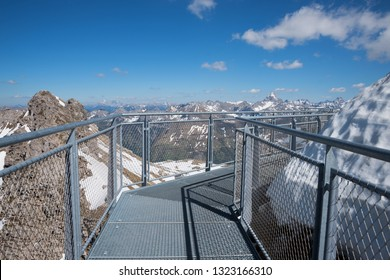 observing walkway at nebelhorn mountain summit in the allgau alps
