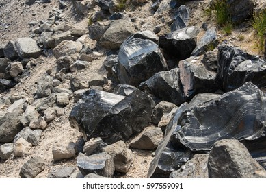 Obsidian boulders in a lava flow at the Newberry National Volcanic Monument