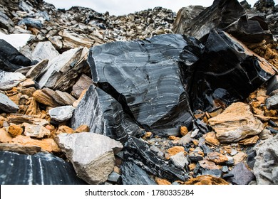 Obsidian and Pumice rocks at Glass Mountain, Lava Beds National Monument, California