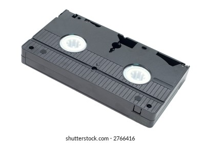 An obsolete black video tape isolated on a white background