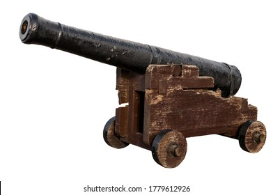 Obsolete defense, old-fashioned battle gun and vintage weapon concept with photograph of aged naval canon made of wood and iron isolated on white background with clipping path cutout