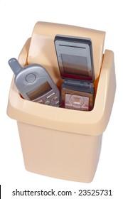 Obsolete mobile phones in recycle bin