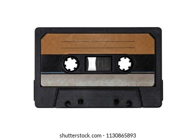 Obsolete technology of audio recording and playback format audio cassette tape, top view.Cassette tape,isolated white background.