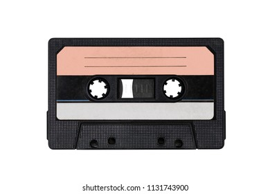 Obsolete technology of audio recording and playback format audio cassette tape, top view.