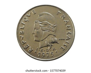 Obverse of French Polynesia coin 10 francs 1975 with inscription meaning FRENCH REPUBLIC. Type KM# 8.