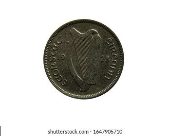 Obverse of Irish Free state coin 6 pence 1928 with inscription meaning IRISH FREE STATE.