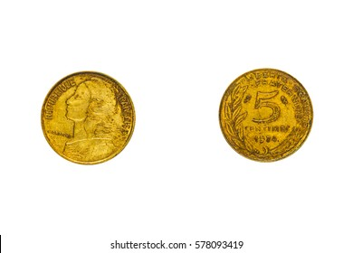 Obverse and reverse of the French coin in five centimes with the portrait of Marianne, isolated on white, top view, flat lay.
