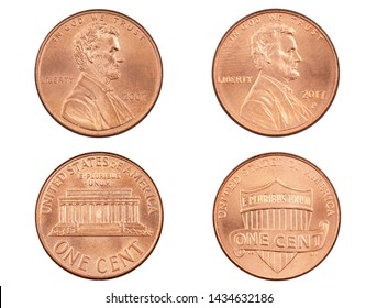 Obverse and reverse sides of  the Lincoln Memorial cent and the Union Shield cent isolated on a white background