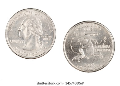 Obverse and reverse sides of the Louisiana 2002pState Commemorative Quarter isolated on a white background
