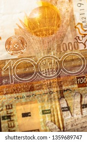 Obverse side of 1000 one thousand Kazakhstani Tenge banknote. Kazakhstan national currency.