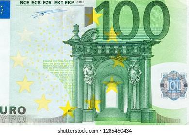 Obverse side of Euro Zone banknote of 100 Euros. Horizontal macro close-up view.