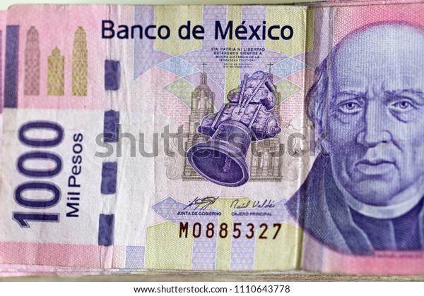 Obverse Side Mexican Mxn Banknote Denomination Stock Photo