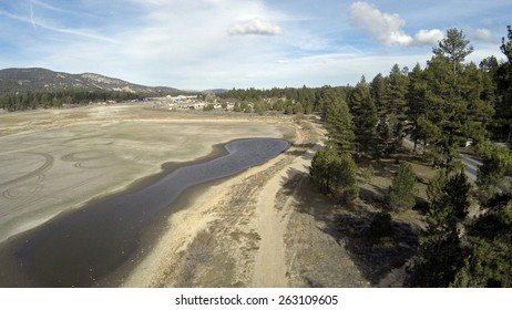 Obvious Affect of Drought on East Side of Big Bear Lake Aerial Shot