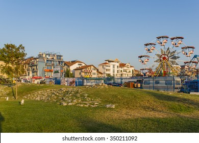 OBZOR, BULGARIA - AUG 15, 2015:  Attractions near the beach. The park near the sea in the Bulgarian town Obzor. Picture taken in the morning during a trip to Bulgaria.