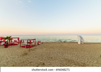 OBZOR, BULGARIA - JUL 09, 2017: City Beach in Obzor. Embankment alley. Picture taken during a trip to Bulgaria  in the evening