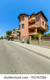 OBZOR, BULGARIA - JUL 11, 2017: Street Third March. Private sector.  Architecture and streets of the town of Obzor in Bulgaria. Picture taken during a trip to Bulgaria