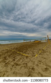 OBZOR, BULGARIA - JUL 18, 2017: City Beach. Volleyball court on the sand. Picture taken during a trip to Bulgaria.