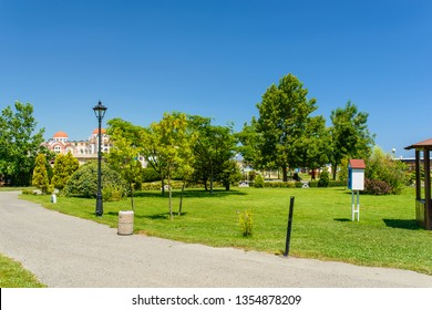 OBZOR, BULGARIA - JUL 22, 2018: The park near the sea in Obzor. Picture taken during a trip to Bulgaria.