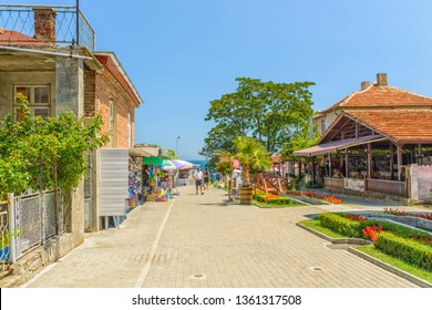 OBZOR, BULGARIA - JUL 22, 2018: Alley from the city center to the sea.  Architecture and streets of the town of Obzor in Bulgaria.