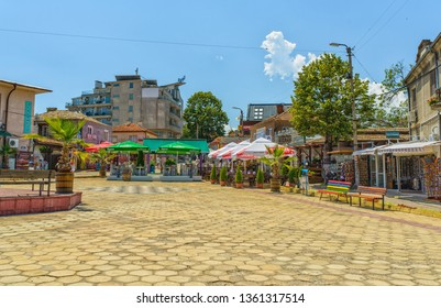 OBZOR, BULGARIA - JUL 22, 2018: Central square. Architecture and streets of the town of Obzor in Bulgaria.