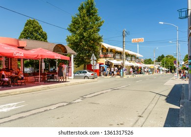 OBZOR, BULGARIA - JUL 22, 2018: The road to the sea in the city center.  Architecture and streets of the town of Obzor in Bulgaria.