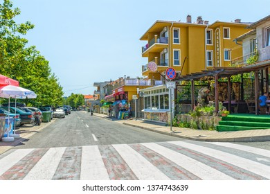 OBZOR, BULGARIA - JUL 22, 2018: The road to the sea from the central square. Architecture and streets of the town of Obzor in Bulgaria.
