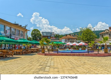 OBZOR, BULGARIA - JUL 22, 2018: Fountain in the central square. Architecture and streets of the town of Obzor in Bulgaria.