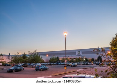 Ocado, British online supermarket. In contrast to its main competitors, the company has no chain of stores and does all home deliveries from its warehouses - Hatfield,England,1st August 2018