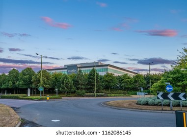 Ocado head office in Hatfield UK. Ocado is a British online supermarket- HATFIELD,UK-AUGUST 2,2018