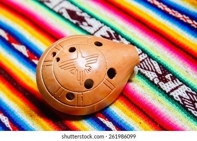 Ocarina with multicolor peruvian cloth