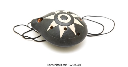 ocarina; wind instrument; isolated on white;
