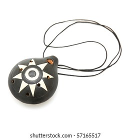 ocarina, wind instrument, isolated on white