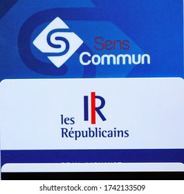 Occitanie, France - May 2020 - Membership cards of the right-wing French political parties Les Républicains (LR), main opposition group in Parliament, and its conservative component Sens Commun