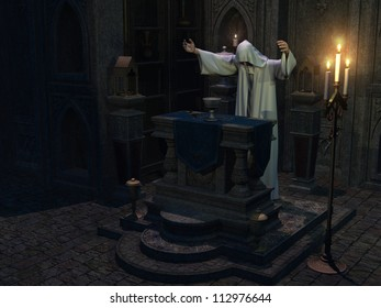 Occult priest in hooded white robe with arms outstretched performs ceremony at altar with chalice and dagger