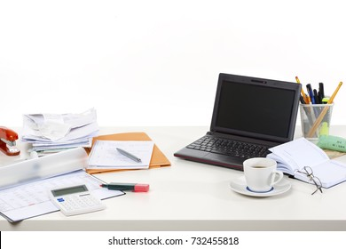Occupation Desk Series, showing different jobs isolated on white background: accountant bookkeeper