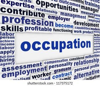 Occupation message background. Employment poster conceptual design
