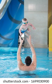 occupation in the pool of children with a swimming coach