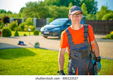 Occupation Professional Gardener. Young Gardener Ready to Get Work.