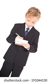 Occupations: Business Boy Writes On Pad Of Paper