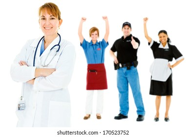 Occupations: Mature Doctor Leads Cheerful Group of Occupations