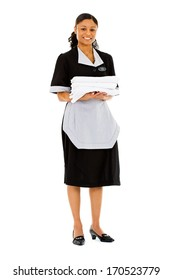 Occupations: Pretty Housekeeper with Stack of Towels