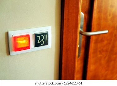 Occupied hotel room, door closed